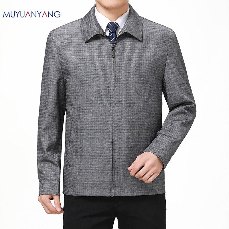Mu yuan yang 50% Off męskie kurtki wiosną i jesienią Casual Men kurtki w kratę i płaszcze skręcić w dół kołnierz płaszcz z suwakiem płaszcz w Kurtki od Odzież męska na AliExpress - 11.11_Double 11Singles' Day 1