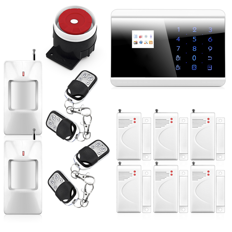 P723 Wireless Zone GSM PSTN Home Alarm System SMS Arm/Disarm Door Contct Fire Alarm Sensors Emergency Panci Alert 8218G