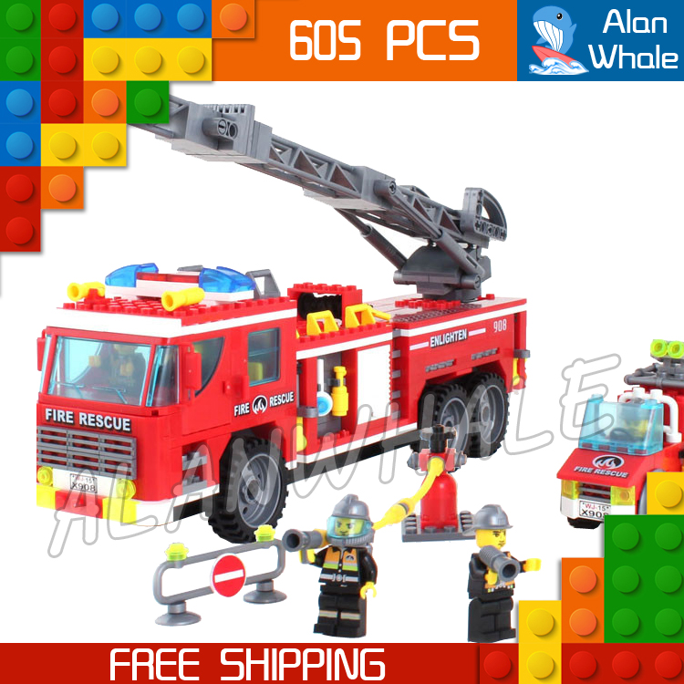 605pcs City Scaling Ladder Fire Engines Rescue Truck 3D Firefighter 908 Model Building Blocks Children Toys Compatible with lego lepin 02012 city deepwater exploration vessel 60095 building blocks policeman toys children compatible with lego gift kid sets