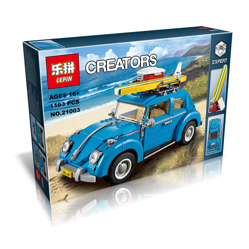 2016 New font b LEPIN b font 21003 1193Pcs Creator Volkswagen beetle Model Building Kits Minifigure
