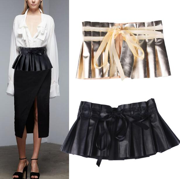 Women's Runway Fashion Pleated PU Leather Cummerbunds Female Dress Shirt Corsets Waistband Belts Decoration Wide Belt R1145