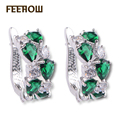 FEEROW Bridal Jewelry White Gold Plated Mona Lisa Multicolor and White Color Top Quality CZ Diamond Hoop Earrings FWEP094