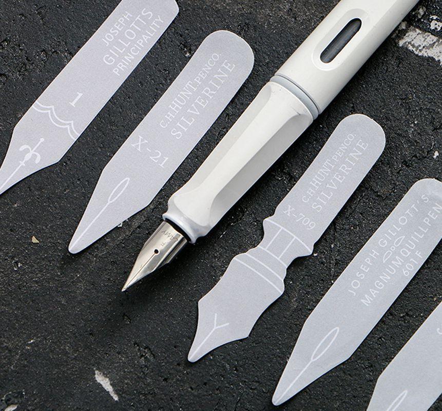 Fountain Pen Design Mini Sticky Memo Notes 13*8.5cm DIY Paper Sticker 4 Designs Mixed Total 120 Sheets