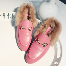 2016 New Winter European Hot Rabbit Fur Loafer Shoes Plush Velvet Leather Slippers Shoes Female Drag Flat Shoes Free Shipping