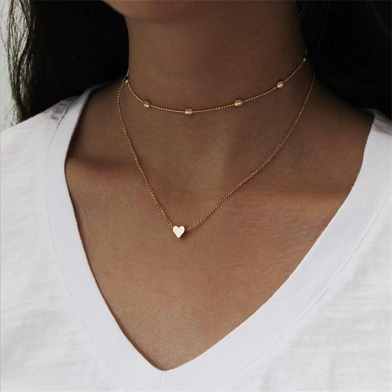 Simple Fashion Alloy Necklace Gold Color Small Heart Shaped Pendant Choker Necklaces For Women 2 Colors Women Beach Necklace Hot
