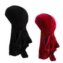 Tail Turban Biker-Headwear Velvet Durags Doo Rag Long Men 2pcs/Lot Wigs Pirate Breathable
