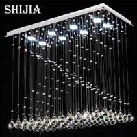 Ücretsiz kargo Modern dikdörtgen tasarım led kristal avize aydınlatma L80 * W38 * H62cm cilalar de kristal yemek odası lambalar