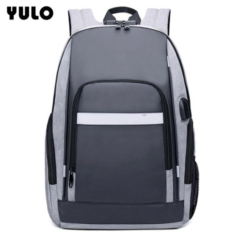 YULO Oxford Waterproof Backpack USB Password Anti-theft Backpack Middle School Student Bag Fashion Business Computer Bag