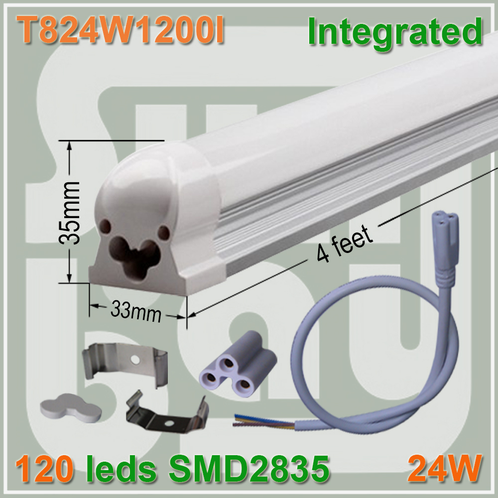 4pcs lot 120leds T8 integrated font b tube b font 4ft 1200mm milky clear cover available
