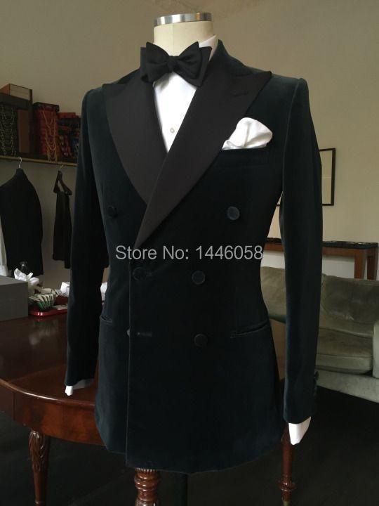 Men's Tuxedo Dress Suits 2017 Fashion Black Double Breasted Slim Groom Wedding Prom Suits For Men Custom Made Velvet Mens Suits