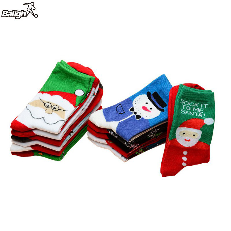 Balight Christmas Style Sports Socks Breathable Absorb Sweat Cotton Bottom Cycling Climbing Camping Hiking Running Sport Socks