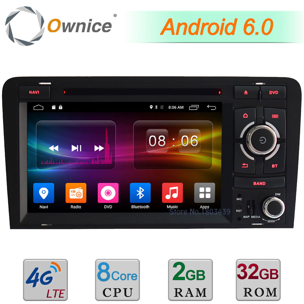 4G Wifi Android 6.0 7 Octa Core 2GB RAM 32GB ROM DAB USB FM BT Car DVD Radio Player For Audi A3 S3 RS3 2003-2013 GPS Navigation