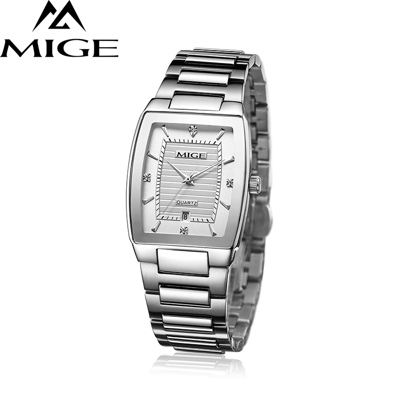 Mige 2017 Top Brand Square Business Stainless Steel Band White Watchface Japan Movement Lover Watch Waterresistant Mans Watch mige 2017 top brand mige square business stainless steel band white japan movement lover watch waterresistant women watches