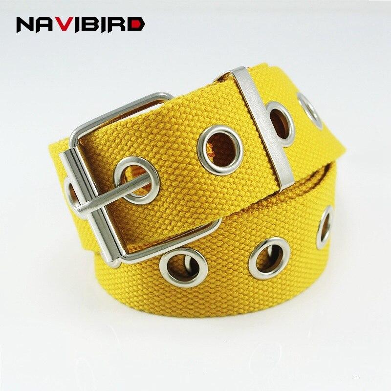 Yellow High Street Style Canvas Belt Casual Long Grommet Belt Men And Women Jeans Waistband Pin Buckle Corset Belt Ceinture Riem belt