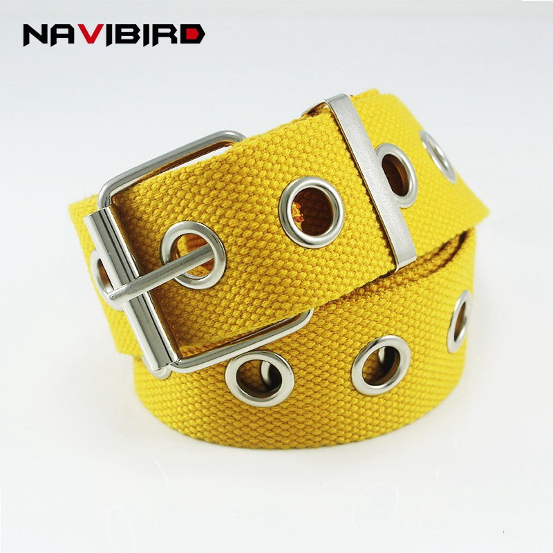 Yellow High Street Style Canvas   Belt   Casual Long Grommet   Belt   Men And Women Jeans Waistband Pin Buckle Corset   Belt   Ceinture Riem