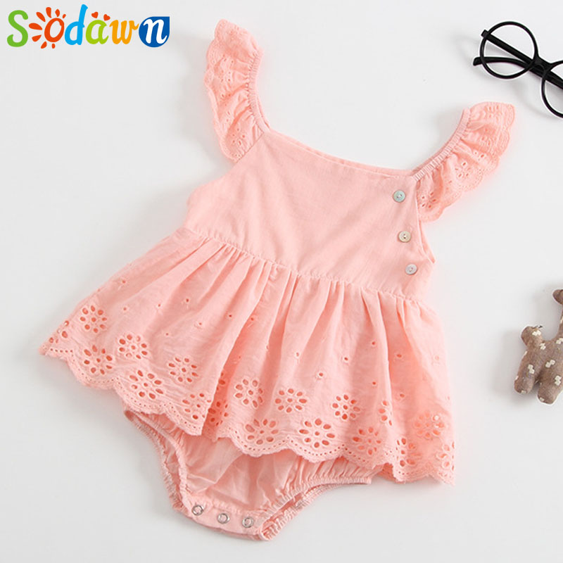 Sodawn European And American Style 2018 Summer New Girl Baby Ha Ha Dress Cotton Triangle Embroidery Romper Baby Girls Clothes ...