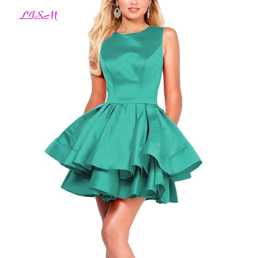 Hot Sale Tiered Round Neck Short Homecoming Dress A Line Prom Party Dresses Mini Bridesmaid Dress vestidos graduacion 2018