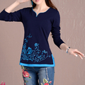 Women's spring long sleeve shirt national wind embroidered flower shirt lady long sleeve t-shirt women's casual T-shirt vestidos
