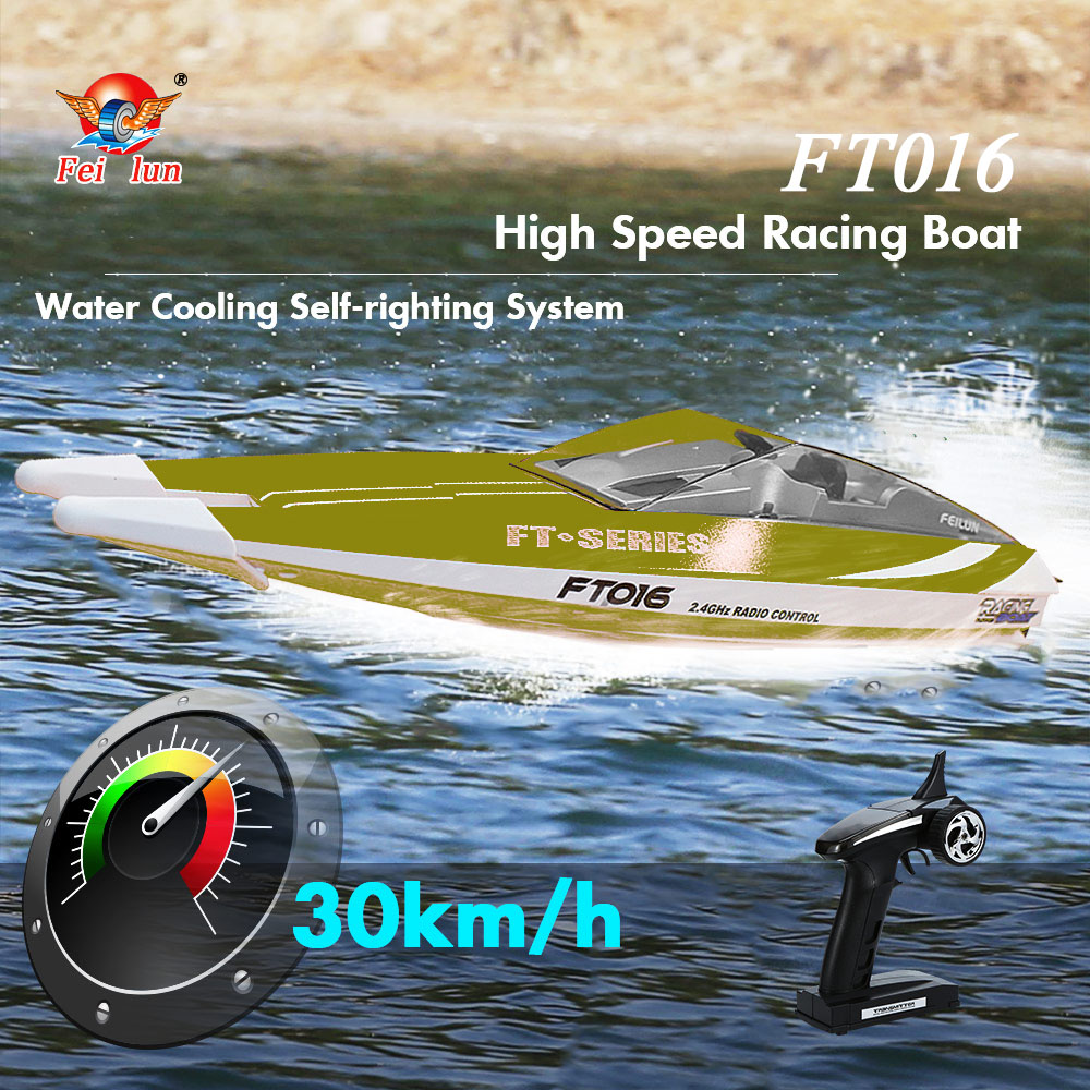 Original RC Boat FT016 2.4G 30km/h High Speed RC Racing Boat Water Cooling Flipped Self-righting Function Toys for Children