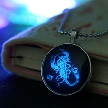 Знак зодиака Скорпион ночной Светильник цепочка из бисера Посеребренная стеклянная подвеска ожерелье светится в темноте ювелирные изделия светящийся астрологический подарок