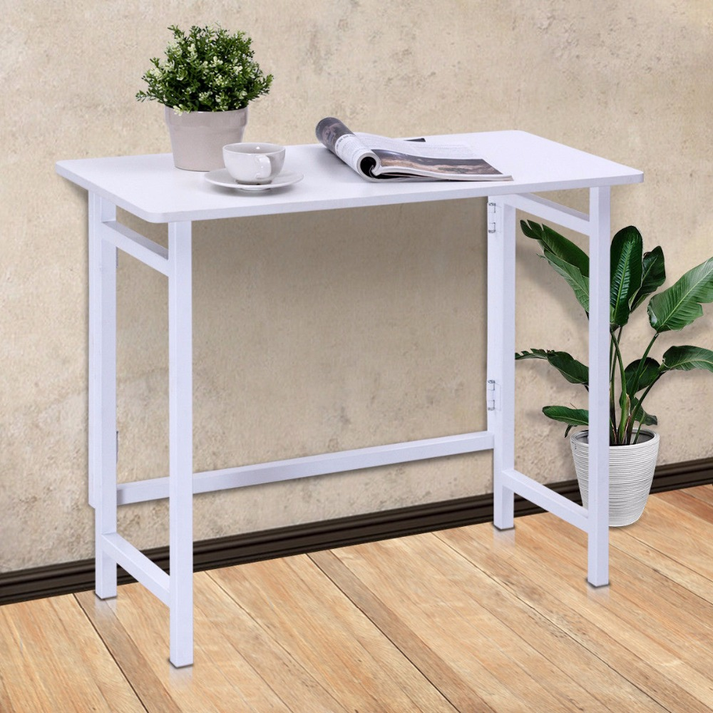 Golpus Modern Folding Table Office Computer Desk PC Laptop Writing Table Home Office Workstation White Portable Table HW56263WH