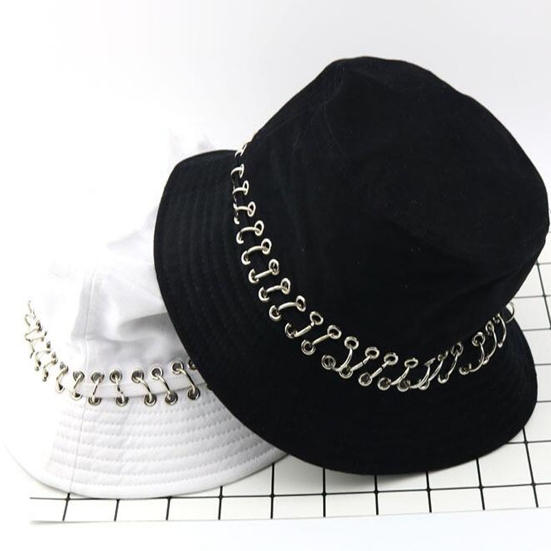 d61a63b9a83 Bucket Hat Unisex Folding Hunting Fisherman Outdoor Cap Cool Girl Boy Iron  Ring Fisherman Hiphop Hat Solid Outdoor Cotton Sunhat-in Bucket Hats from  Apparel ...