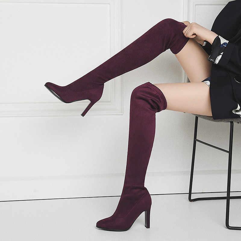 ASUMER over de knie laarzen vrouwen wees teen slip op dames schoenen Luipaard Print sexy dij hoge laarzen klassieke lange laarzen 2020