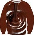 2016 новые мужчины / женщины закуски шоколад молочных продуктов смешные пуловеры 3D капюшоном толстовка человек с длинным рукавом ватки внутри Crewneck топы