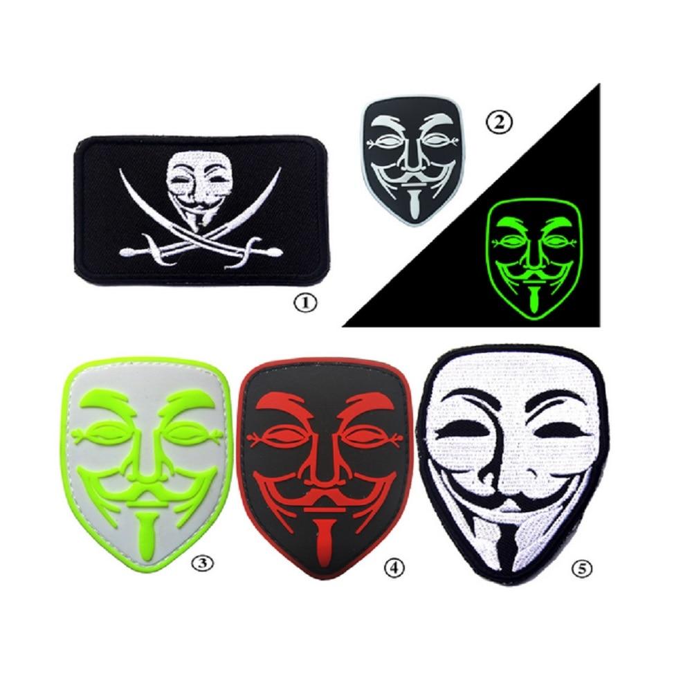 10 Stück / Los 3D PVC Klebepatches Loop And Hook V Vendetta Patches - Kunst, Handwerk und Nähen
