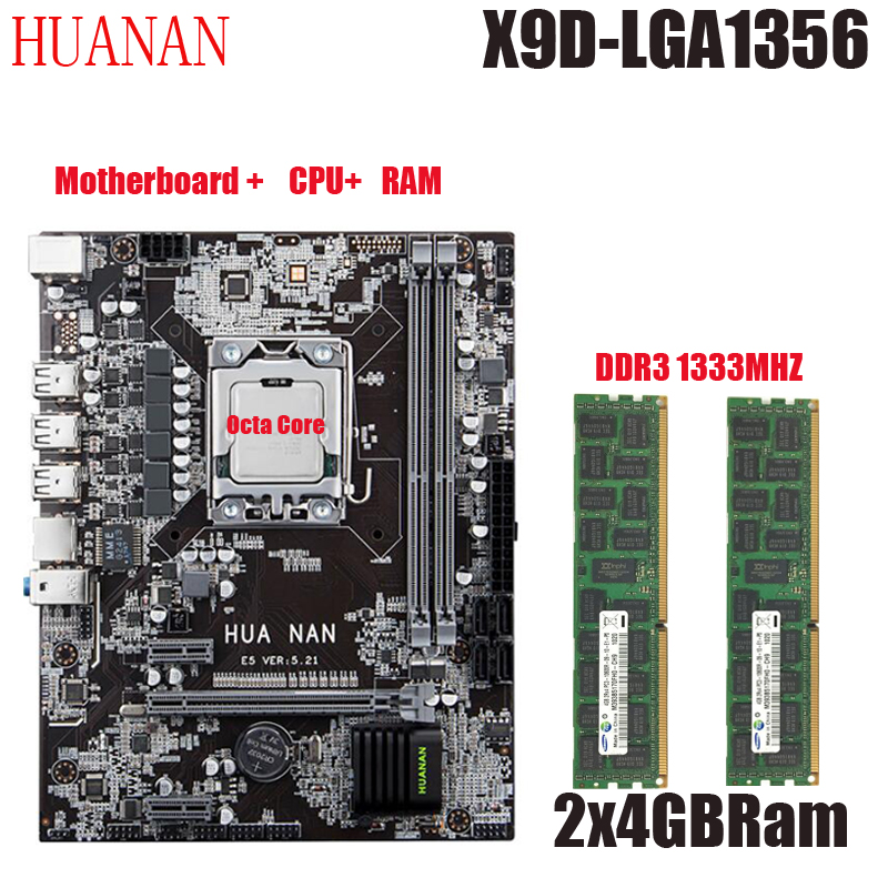 New arrival! HUANAN X9D LGA 1356 set motherboard Xeon E5 2450L RAM 8GB (2X4GB) DDR3 1333 MHz ECC REG RAM Octa Core CPU