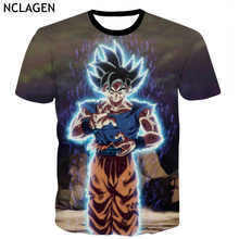 NCLAGEN Men Short Sleeve 3D T Shirts Dragon Ball Super Ultra Instinct Son Goku Beat Kevlar Print T-Shirt Top Tee Plus Size S-5XL