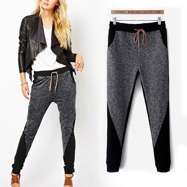 2017 mujeres de la moda patchwork pantalones harem leggings pantalones largos ropa de hip hop pantalones de chándal de algodón cómodo estilo perezoso