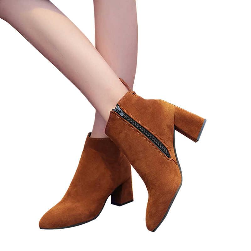 Kadın çizmeler sivri burun yarım çizmeler kadın yüksek topuk ayakkabı artı boyutu kare topuk çizmeler moda fermuar 2019 kadın parti ayakkabıları