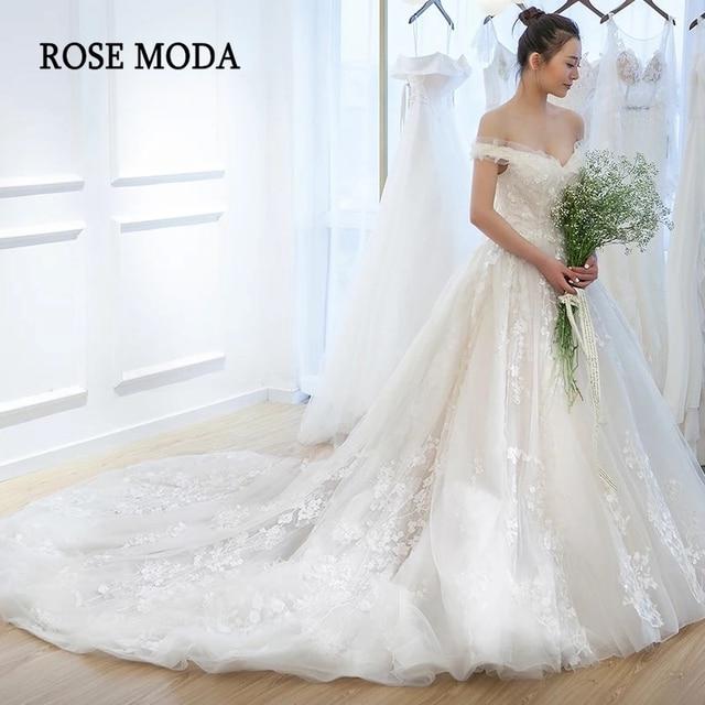 Rose Moda Off Shoulder V Neck Lace Wedding Dress 2019 3d Flower Lace