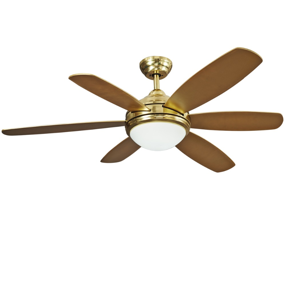 Vintage Ceiling Fan Led Ceiling Light with Remote Control for Living Room Dinning Room within 5inch & 10 inch Rod Brass Finish