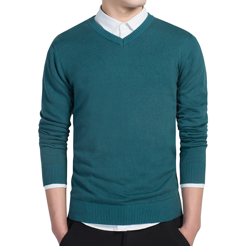 Sweater Autumn Winter Men Pure Color Sweater Pullovers Simple Fashion Cotton Knitted V Neck Sweater Jumpers Thin Male Knitwear
