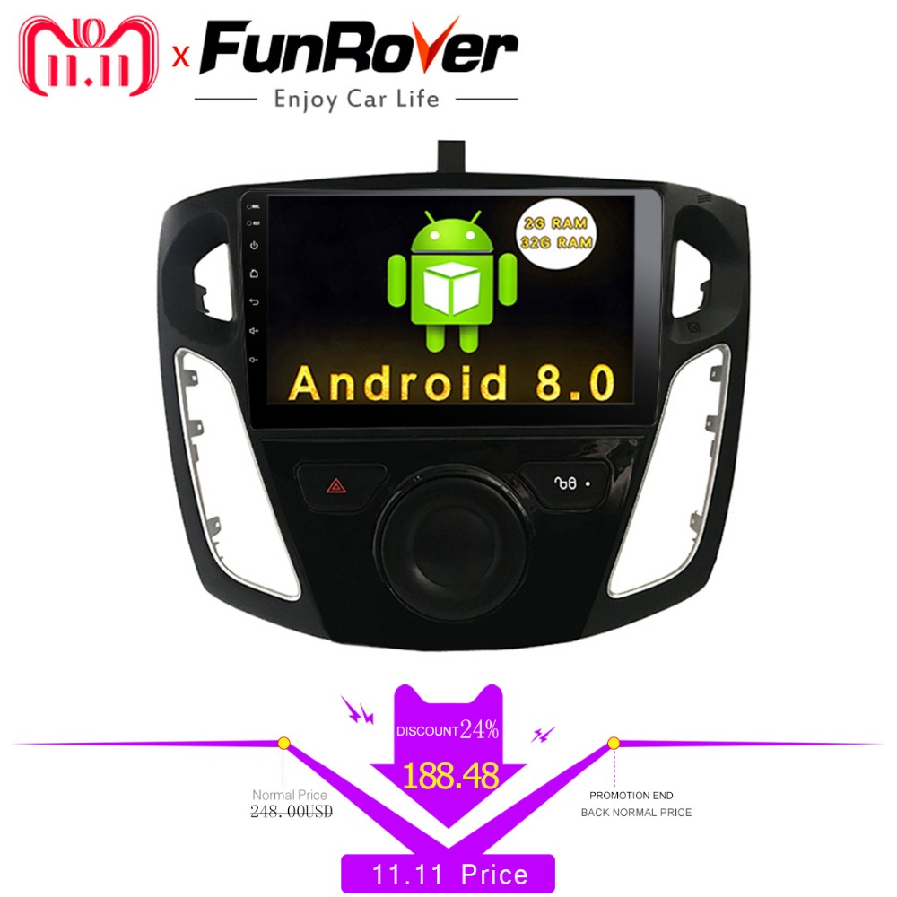 Funrover 9 inch android 8.0 car dvd radio player for FFord Focus 3 2012 2013 2014 2015 with gps navigation car multimedia player for ford focus 3 2012 2013 2014 2015 car android unit 1 din dvd radio stereo audio multimedia video music player gps navigation