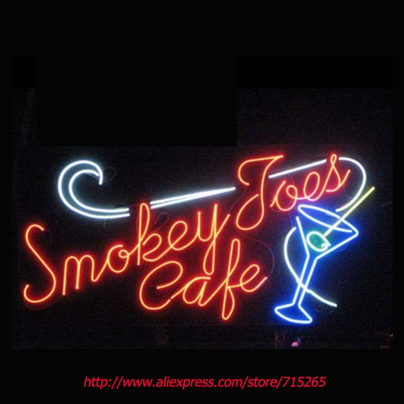 Smokey Cafe Neon Signs Signage Board Neon Bulbs Real GlassTube Handcrafted Recreation Beer Bar Windows Business Display 24x16