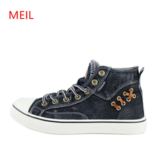 лучшая цена Unisex New High Top Demin Jeans Canvas Shoes for Man Casual Shoes Breathable Lace-up Flat Mens Trainers Espadrilles Men Sneakers