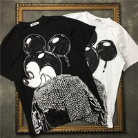 New Top Quality Hip Hop Mickey Printing Short Cotton T Shirt Summer In Stock