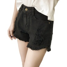 ROPALIA Crimping Denim Shorts Women Zipper Solid Hole Slim Casual Femme  Short Jeans e53f6afdf74