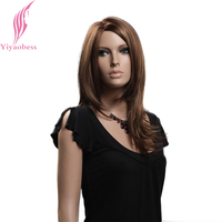 Yiyaobess 18inch Brown Blonde Highlights Wig Hair Style Synthetic Long Wavy Womens Wigs For African Americans