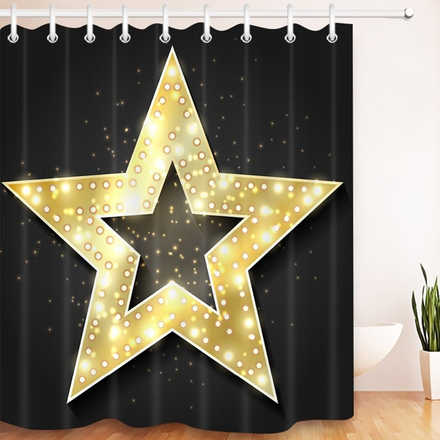 LB 180180 Gold Star Black Shower Curtains Waterproof Polyester Bathroom Curtain Fabric With 12 Hooks For Bathtub Home Decor
