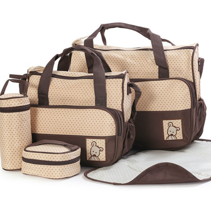 5pcs/set High Quality Diaper Bag Tote Baby Bag Multifunctional Dot Stroller Accessory Nappy Bags Maternity Bags Handbag