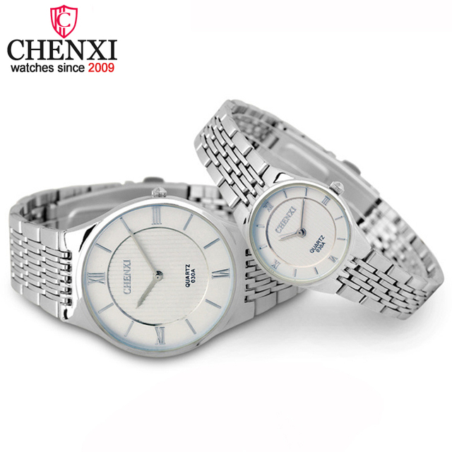 CHENXI Brand Fashion Romantic Silver Couple Watch Stainless Steel Men's Women's