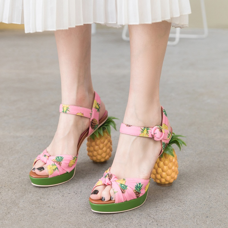 fashion novelty pineapple heel sweet pumps sexy open toe leather sandals women party date shoes platform