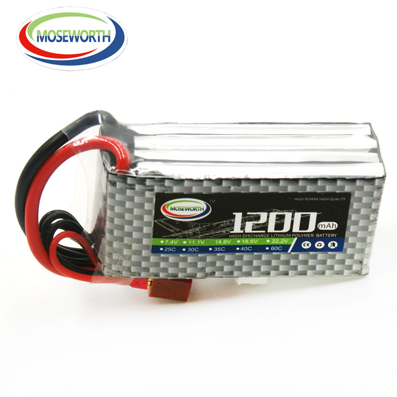 MOSEWORTH RC Lipo Battery 14.8v 4S 1200mAh 25C For RC Modle Aircraft Quadcopter Airplane Helicopter Car Drone 4S Li-ion Battery