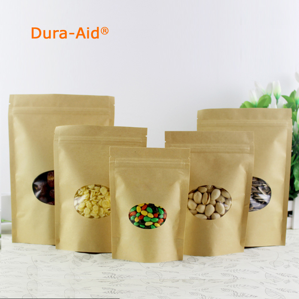 100pcs11x16cm ZipLock Standing Kraft Paper Bag With Round Window Yellow  Kraft Pack Storage Dried Food Electronic Product Pouches