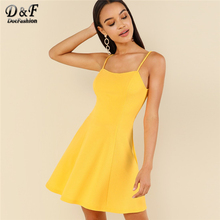 Dotfashion Yellow Criss Cross Open Back Sexy Dresses Party Night Club 2019 Women Clothes Summer High Waist Sleeveless Slip Dress