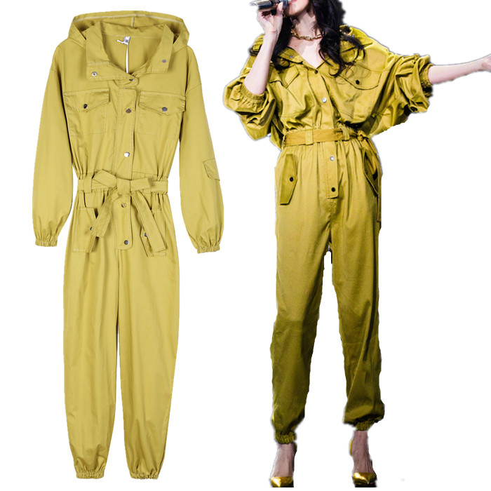 2019 Autumn New Women Fashion Jumpsuit Pockets Hooded Casual Streetwear Long Trousers Overalls Yellow Jumpsuit High Quality